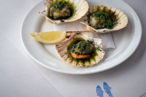 Grilled scallops with sweet herb butter